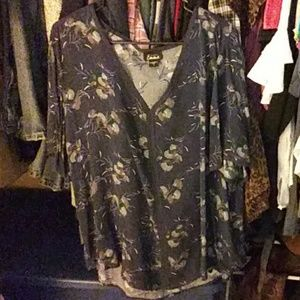 Size XL navy blue floral blouse